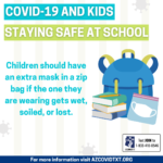 Covid-19 and Kids: Staying Safe at School. Children should have an extra mask in a zip back if the one they are wearing its wet, soiled, or lost.
